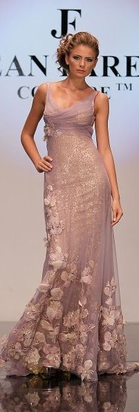 Jean Fares Couture ~ Mauve, gossamer skirt with floral applique