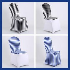 Simple Dinning Room Decor Black and White Blue Striped Spandex Chair Covers for birthday party sweetheart matrimonio coffee shop