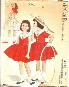 Vintage Sewing Pattern McCalls 4578 Girls Sundress