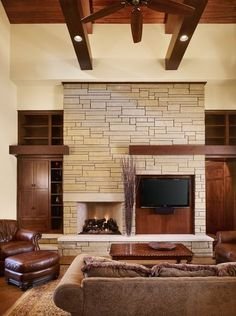 living room design craftsman style homes interior ideas stone fireplace built in shelves House Design, Fireplace Remodel, Fireplace Design, Craftsman Style Homes, Living Room Decor Tips, Craftsman Living Rooms, Tv Room Design, Basement Design, Living Design