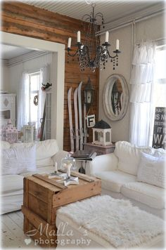 Build bulk head wall between dining room and kitchen and install wood panel. Shabby Cottage, Shabby Chic, Cozy Place, Log Homes, Vintage Decor, My Dream Home, Family Room, Sweet Home, Raw Wood