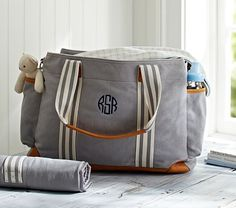 Diaper Bag: Gray Classic, Tote for Baby Essentials at Pottery Barn Kids - Diaper Totes Chic Diaper Bag, Best Diaper Bag, Diaper Backpack, Backpack Bags, Pottery Barn Kids, John Wilson, Everything Baby, Baby Time, Baby Registry