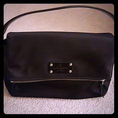 NWOT Kate spade nylon zip flap bag Gold zip and hardware detachable strap 10 inch across 8 down great size for day or night kate spade Bags