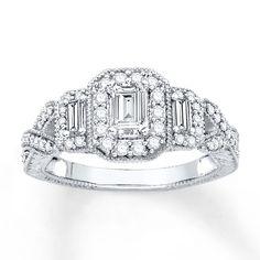 Jared - Diamond 3-Stone Ring 3/4 ct tw Emerald-cut 14K White Gold