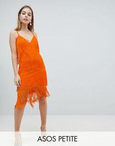 9b86447963e ASOS DESIGN Petite fringe  amp  lace plunge bodycon midi dress  promdresses   partydresses