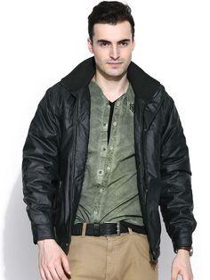 Flat 25% OFF on Duke Winter Collection. Duke Full Sleeve Regular Solid Black Jacket by Returnfavors