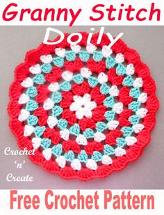 Crochet Granny Doily Free Crochet Pattern - Crochet 'n' Create Pretty doily made in granny stitch, use for wall hanging or tables. CLICK and scroll down for patte Crochet Doily Patterns, Crochet Squares, Crochet Granny, Crochet Designs, Crochet Doilies, Crochet Stitches, Stitch Patterns, Knitting Patterns, Crochet Circles