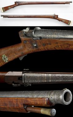Ottoman matchlock, 17th century, twisted steel barrel, twelve sided at the breech, cartouches of arabesques in strapwork, the panels set with carnelians, peep sight at the rear, small fore sight at the muzzle swamped and decorated with bands of ornament matching the breech, walnut stock with hole for the match, bordered with a rosette in walrus ivory, walrus ivory butt plate bordered with bands of horn and green stained ivory, length 1270 mm, barrel 937 mm, 4455g. Royal Armouries.