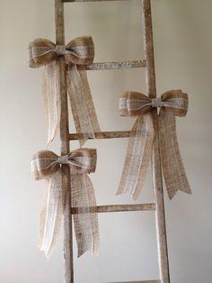 Burlap lace bow---pew bow, rustic, shabby, wedding on Etsy, Wedding Bows, Casual Wedding, Diy Wedding, Rustic Wedding, Wedding Ideas, Wedding 2015, Wedding Reception, Wedding Stuff, Wedding Gifts