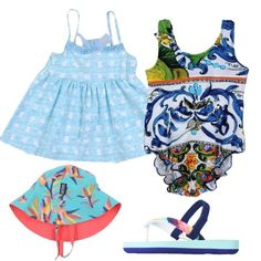 Outfit da bimba, composto da costume intero multicolor con fantasia floreale abbinato ad un copricostume celeste e bianco con fiocco sul retro e ad un paio di infradito multicolor con elastico. A completare l' outfit cappellino turchese con fantasia multicolor.