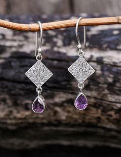 Amethyst Utpala Earrings #amethyst #fair-trade #lotus #silver