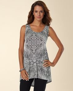 Soma Intimates Soft Jersey High-Low Sleeveless Tunic Top Stamped Crochet Black #somaintimates