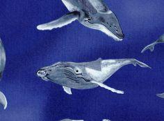 Humpback Whale Cotton Fabric Blue