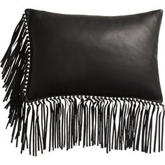 - August Catalog 2016 - Leather Fringe Black Pillow With Down-Alternative Insert Leather Throw Pillows, Black Throw Pillows, Leather Pillow, Toss Pillows, Accent Pillows, Black And White Flats, Black And White Pillows, Solid Black, Leather Fringe