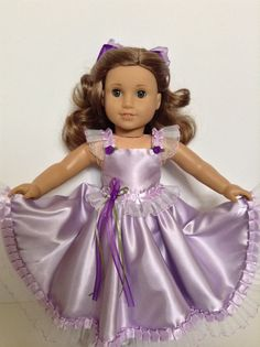 RESERVED FOR K.B -- American Girl 18-inch Doll Clothes - Light Lavender Satin Gown & Hair Bow