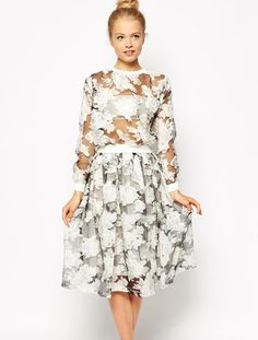 White Long Sleeve Sheer Mesh Yoke Floral Top With Skirt