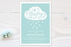 Raindrops and Blossoms Baby Shower Invitations by robin ott design at minted.com