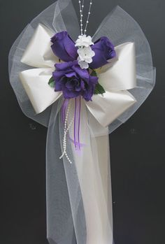 Purple Ivorysatin Wedding Pew Bows Decorations Bouquet