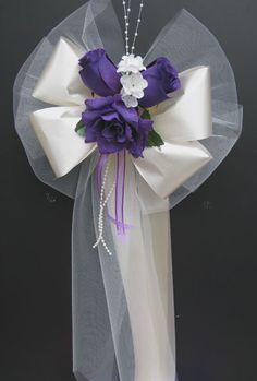 purpleivorysatin wedding pew bows decorations bouquet