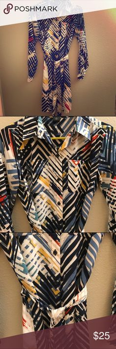 Ann Taylor favtory artsy dress Belted dress in excellent condition. Reminds me of a Kandinsky portrait. So pretty. Ann Taylor Dresses Long Sleeve