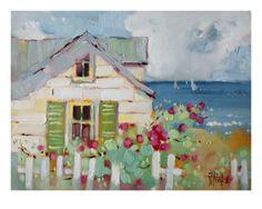 Joyce Hicks WATERCOLOR Green Nantucket shutters