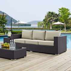 Convene Outdoor Patio Sofa, Espresso Beige - Gather stages of sensitivity with the Convene outdoor sectional series. Made with a synthetic rattan weave and a powder-coated aluminum frame, Convene is a versatile outdoor collection that shifts and combines according to the spontaneous needs of the moment. Outfitted with all-weather fabric cushions, leave a positive impression on friends and family while enhancing your patio, backyard or poolside repast in this series of palpable distinction…
