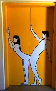A simple but crude piece by Stefan sagmeister that shows a couple on either door of an elevator. When the doors close it simulates a couple having sex. I believe it's part of his The Happy Show exhibit.