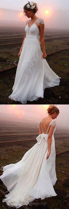 Backless Wedding Dresses,V-neck Wedding Dresses,Chiffon Wedding Dress,Beading Bridal Gowns,Sexy Wedding Dresses