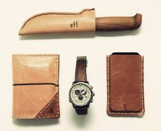 Custom Leather EDC Submitted By: THEMISTIUS Handmade leather knife sheath, iPhone sleeve and wallet by TTG…Citizen watch with pig leather strap