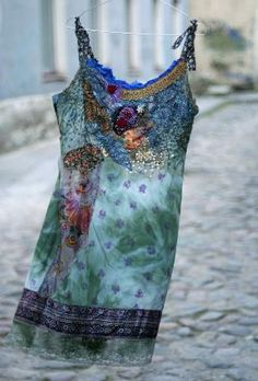 Desiree -- romantic tunic with hand embroidery and antique laces, silks and brocade, bohemian romantic by Abigalea