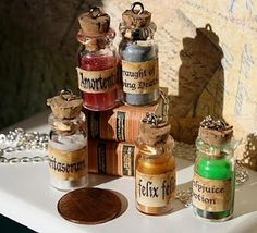 Toni Ellison: Harry Potter Potion Bottles  (easy to make, chain, and hang - used these very bottles for our wedding favors)