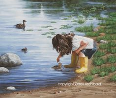 Beautiful Newfoundland artwork captured by artist Odell Archibald Newfoundland, Love Art, Kids Playing, My Eyes, Lab, Touch, Illustration, Artwork, Artist