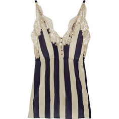 Rosamosario Striped lace-trimmed silk-georgette camisole (€205) ❤ liked on Polyvore featuring intimates, camis, lingerie, pajamas, tops, underwear, babydoll lingerie, navy cami, navy blue camisole and navy camisole