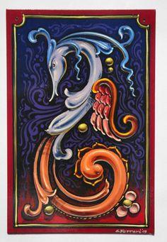 Gustavo Ferrari Beautiful Norway, Tattoo Signs, Argentine, Lettering Design, Painting Techniques, Folk Art, Cross Stitch, Art Deco, Doodles