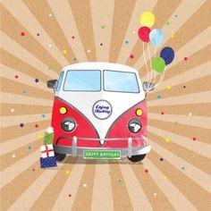 Debbie Edwards - Male Birthday Fathers Day Brother Dad Grandfather Nephew VW Retro Van