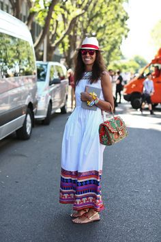 VV at Milan Fashion Week, embroidered maxi dress