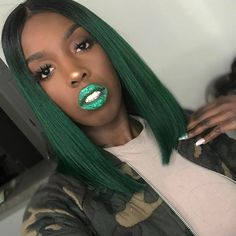 Gorgeous Green Hair. DIY your unicorn hair color. https://www.ywigs.com Cheap Full Lace Wigs Cheap Lace Front Wigs Cheap 360 Lace Frontal Wigs Cheap Brazilian Hair Cheap Peruvian Hair Lace Closure Lace Frontal