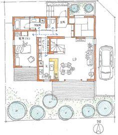 このお宅は、息子さん4人家族と、お父さんが一緒に暮らしています。2階に、若夫婦の寝室と、子供二人の子供部屋があり、お父さんの個室は、LDKとサニタリーへ、... Hotel Floor Plan, House Floor Plans, Japanese Architecture, Architecture Plan, Craftsman Floor Plans, Architectural House Plans, Sims House, Japanese House, Architect Design