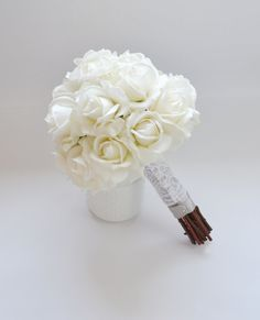 White Rose Bouquet Real Touch Wedding by blueorchidcreations