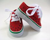Girls Watermelon Shoes Hand Painted Toddler or Baby Canvas Kids Sneakers http://www.etsy.com/treasury/MTkwMjc2ODJ8MjcyMzAwOTYxMA/a-bang-up-fourth?ref=pr_treasury