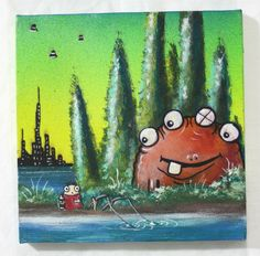 8x8 Original Graffiti Tattoo Style Canvas Painting Toad Fishing UFO Beer Tree | eBay