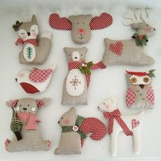PDF Christmas tree ornament decorations-sewing easy pattern-reindeer-owl-fawn-bear-fox-robin-squirrel- special price - Best Sewing Tips Felt Christmas Ornaments, Christmas Crafts, Christmas Decorations, Xmas, Christmas Christmas, Christmas Stockings, Woodland Christmas, Simple Christmas, Handmade Christmas