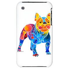 French Bulldog iPhone skin painted in Whimsical shapes and colors.  Loads of great Frenchie gift items on my site. http://www.cafepress.com/whimzicals/2465854  There are two different French Bulldog designs to choose from so look at them both.  Gifts for all French Bulldog lovers.  You can't go wrong.  http://www.cafepress.com/whimzicals/2465854