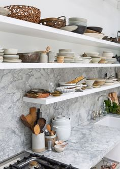 Kitchen of the Week: A Backyard Kitchen in Berkeley, Ceramics Included (Remodelista: Sourcebook for the Considered Home) Marble Countertops Kitchen, Kitchen Storage, Kitchen Appliance Storage, Kitchen Remodel, Open Kitchen Shelves, Modern Kitchen, Studio Kitchen, Backyard Kitchen, Kitchen Design