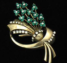 Vintage PENNINO STERLING Rhinestone Flower Brooch Pin 1940s #Pennino