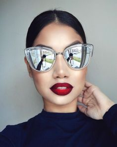 """Inspired by @amrezy   Shades @whitefoxboutique My Girl sunglasses clear by Quay Australia  Lips: @anastasiabeverlyhills ""Candy apple"" & ""Midnight""…"""