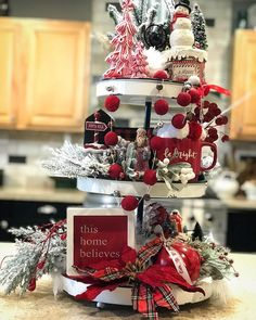 Image may contain: food Country Christmas Decorations, Christmas Wreaths, Holiday Decor, All Things Christmas, Christmas Time, Tiered Server, Christmas Kitchen, Tray Decor, Wake Me Up
