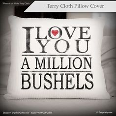 I Love You A Million Bushels Pillow housewarming gift by iXiDesign
