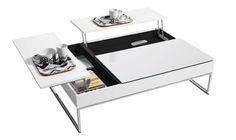 Mesa de centro con espacio de almacenamiento, laca blanca/cristal blanco/cromado.