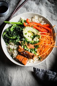 BROCCOLI RABE AND MAPLE GLAZED SALMON BIBIMBAP #food #foodporn #foodies